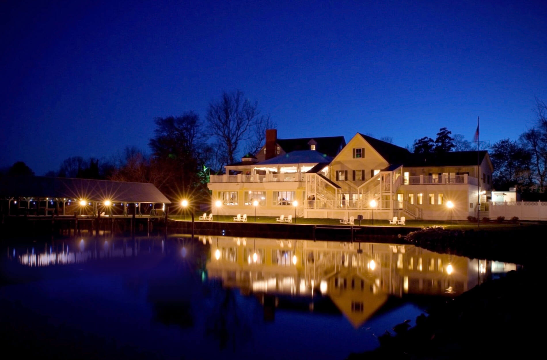 The Oaks Waterfront Inn & Events Maryland Wedding Venues wide angle view of waterfront property