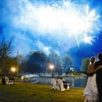 The Oaks Waterfront Inn & Events Maryland Wedding Venues fireworks over the water at The Oaks wedding