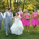 The Oaks Waterfront Inn & Events Maryland Wedding Venues bridal party at a fun outdoor wedding