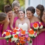 bridal party at a fun outdoor wedding
