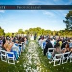 The Oaks Waterfront Inn & Events Maryland Wedding Venues outdoor wedding reception on waterfront with many guests