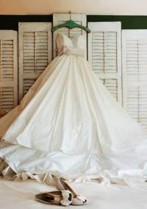 a staged rustic wedding dress