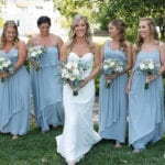 The Oaks Waterfront Inn & Events Maryland Wedding Venues powder blue bridesmaids with bride