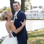The Oaks Waterfront Inn & Events Maryland Wedding Venues newlywed couple on waterfront