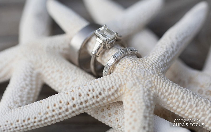 Waterfront Wedding Inspiration | Engagement and Wedding Ring