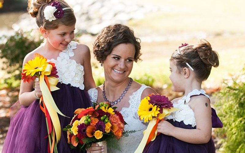 The Oaks Waterfront Inn & Events Maryland Wedding Venues bride to be with flower girls