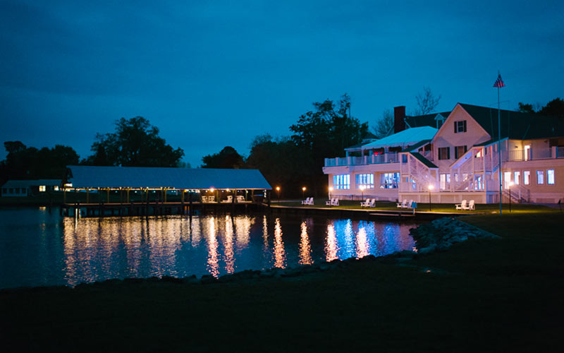 The Oaks Waterfront Inn & Events Maryland Wedding Venues at night