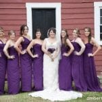 The Oaks Waterfront Inn & Events Maryland Wedding Venues bride in white with bridesmaids in purple at rustic wedding reception