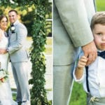 The Oaks Waterfront Inn & Events Maryland Wedding Venues bride and groom with child on waterfront