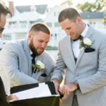 The Oaks Waterfront Inn & Events Maryland Wedding Venues groom with best man